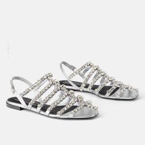 GORGEOUS ZARA NWT Bejeweled Sandals